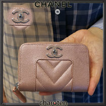 CHANEL ICON Lambskin Plain Coin Purses
