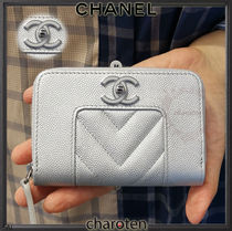 CHANEL ICON Unisex Lambskin Plain Coin Cases