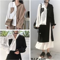 Casual Style Bi-color Long Sleeves Medium Shirts & Blouses