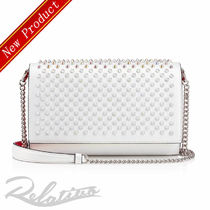 Christian Louboutin Paloma Calfskin Studded 2WAY Plain Elegant Style Clutches