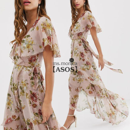 Wrap Dresses Flower Patterns V-Neck Cropped Medium