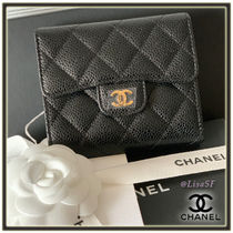CHANEL TIMELESS CLASSICS Calfskin Plain Folding Wallet Folding Wallets