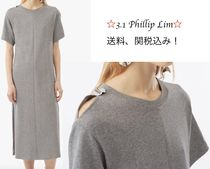 3.1 Phillip Lim Maxi Plain Cotton Long Short Sleeves Dresses