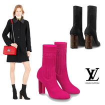 Louis Vuitton Monogram Round Toe Plain Block Heels Ankle & Booties Boots