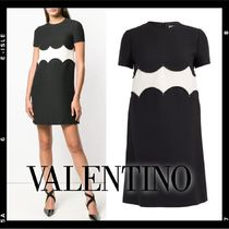 VALENTINO Crew Neck Short A-line Wool Studded Short Sleeves