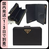 PRADA Unisex Saffiano Plain Folding Wallets