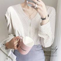 Dots Casual Style Long Sleeves Medium Oversized
