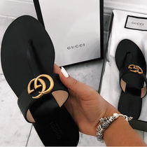 GUCCI Open Toe Casual Style Plain Leather Sandals