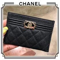 CHANEL BOY CHANEL Plain Leather Card Holders
