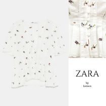 ZARA Flower Patterns Casual Style Puffed Sleeves Plain Cotton