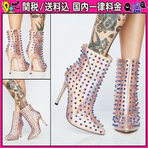 DOLLS KILL Casual Style Studded Plain Pin Heels Ankle & Booties Boots