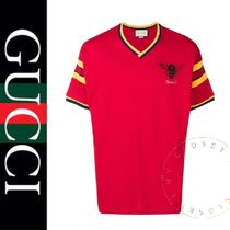 GUCCI Stripes Street Style V-Neck Cotton Short Sleeves Oversized