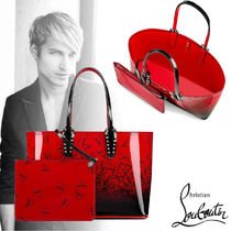 Christian Louboutin Unisex Street Style A4 Plain Leather Totes