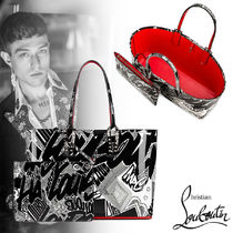 Christian Louboutin Unisex Street Style A4 Leather Totes