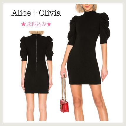 Short Tight Puffed Sleeves Halter Neck Plain Party Style