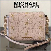 Michael Kors Flower Patterns Studded 2WAY Plain Leather With Jewels