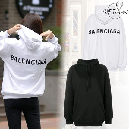 BALENCIAGA Long Sleeves Plain Cotton Hoodies & Sweatshirts
