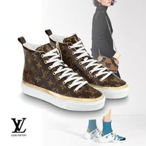 Louis Vuitton Monogram Round Toe Rubber Sole Low-Top Sneakers