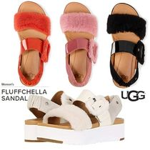 UGG Australia Open Toe Platform Casual Style Enamel Plain Footbed Sandals