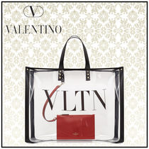 VALENTINO Monogram Studded Street Style Crystal Clear Bags Totes