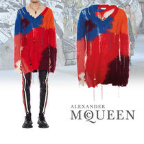 alexander mcqueen Wool Low Gauge V-Neck Long Sleeves Vests & Gillets