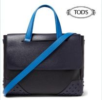 TOD'S Studded A4 2WAY Plain Leather Business & Briefcases