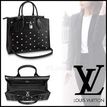 Louis Vuitton CITY STEAMER Blended Fabrics A4 2WAY Bi-color Plain Leather Elegant Style