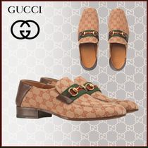 GUCCI Stripes Monogram Plain Toe Unisex Blended Fabrics