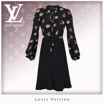 Louis Vuitton Silk Blended Fabrics Long Sleeves Dresses