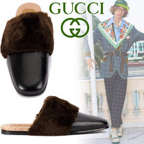 GUCCI Moccasin Blended Fabrics Street Style Plain Leather