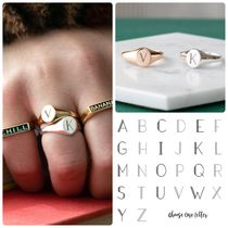 Ron Herman Casual Style Unisex Initial 18K Gold Rings