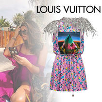 Louis Vuitton Short Blended Fabrics Bi-color Short Sleeves With Jewels