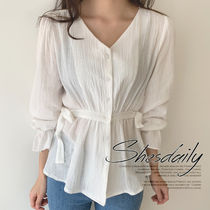 Casual Style Puffed Sleeves Plain Cotton Medium