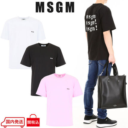 MSGM Crew Neck Crew Neck Street Style Plain Cotton Short Sleeves