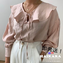 Casual Style Plain Medium Puff Sleeves Shirts & Blouses