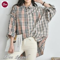 Gingham Glen Patterns Casual Style Long Sleeves Cotton Long