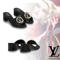 Louis Vuitton Open Toe Plain Block Heels Elegant Style Sandals