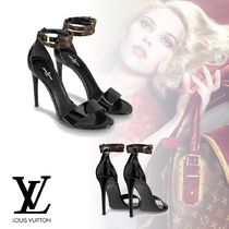 Louis Vuitton Open Toe Plain Leather Pin Heels Elegant Style