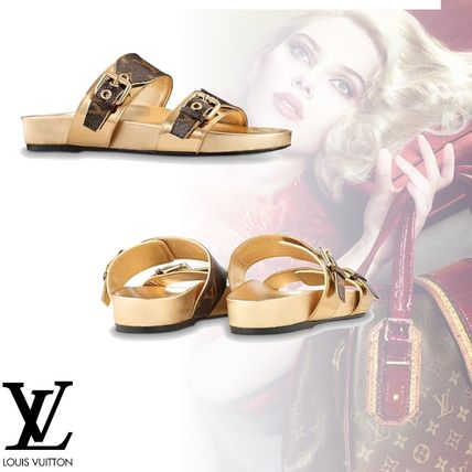 Monogram Open Toe Platform Leather Elegant Style