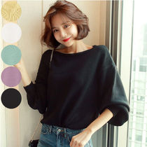 Casual Style Boat Neck Long Sleeves Plain Medium Sweaters