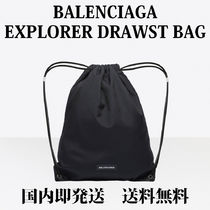 BALENCIAGA Monogram Unisex Nylon Street Style Backpacks