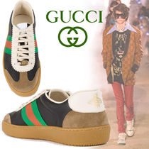 GUCCI Stripes Blended Fabrics Street Style Leather Deck Shoes