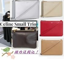 CELINE Trio Bag Leather Elegant Style Shoulder Bags