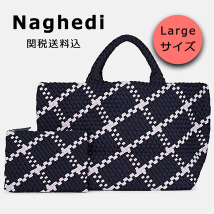 Other Check Patterns Casual Style A4 Totes