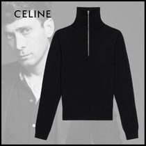 CELINE Wool Long Sleeves Plain Knits & Sweaters