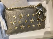 Jimmy Choo Star Unisex Studded Leather Small Wallet Logo Coin Cases