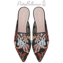 Pretty Ballerinas Flower Patterns Elegant Style Slippers Pointed Toe Shoes