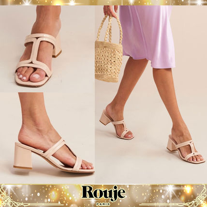 Square Toe Plain Leather Block Heels Elegant Style Sandals
