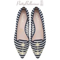 Pretty Ballerinas Stripes Flower Patterns Casual Style Slip-On Shoes