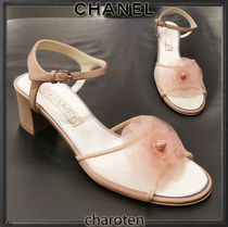 CHANEL ICON Open Toe Blended Fabrics Plain Block Heels Elegant Style